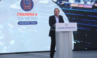 Ο Υπουργός Υποδομών & Μεταφορών, Κ. Καραμανλής, κατά την υπογραφή της σύμβασης για τη νέα γραμμή 4 του Μετρό - Πηγή: Υπουργείο Υποδομών & Μεταφορών